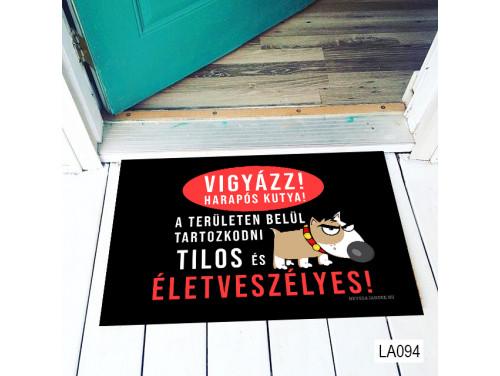 (LA094) Lábtörlő - Vigyazz! Harapós kutya - Vicces kutyás ajándék