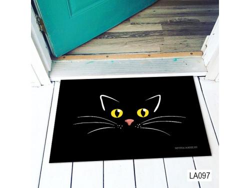 (LA097) Lábtörlő - Fekete cicás lábtörlő - Cicás Ajándék, Vicces Lábtörlő