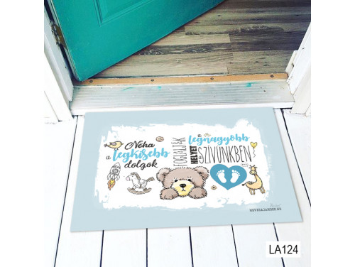 (LA124) Lábtörlő - Néha a legkisebb dolgok fiús - Ajándék Babalátogatóba, kisfiúnak