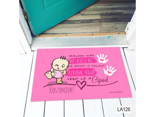 (LA126) Lábtörlő - Nálunk már két kicsi kéz lányos - Ajándék Babalátogatóba, kislánynak
