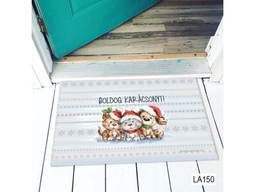 (LA150) Lábtörlő - Boldog Karácsonyt állatkás - Karácsonyi Lábtörlő, Ajándék